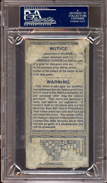 1930 World Series Game 1 Ticket Stub Mickey Cochrane and Al Simmons Home Runs PSA AUTHENTIC