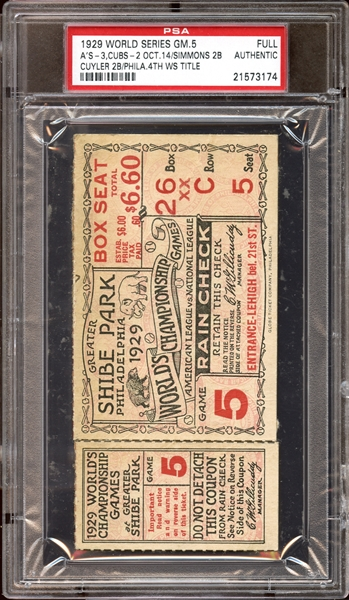 1929 World Series Game 5 Full Ticket PSA AUTHENTIC