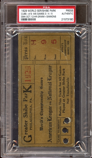 1929 World Series Shibe Park Press Pass PSA AUTHENTIC