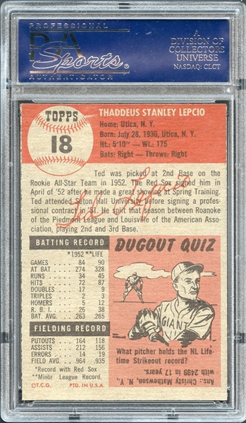 1953 Topps #18 Ted Lepcio PSA 8.5 NM-MT+