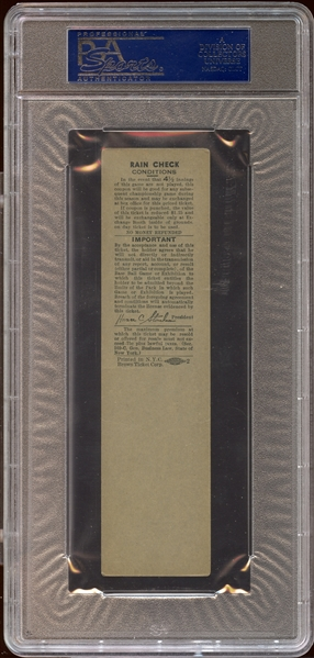 1951 New York Yankees May 28 Full Ticket Proof Willie Mays First Home Run PSA 4 VG/EX