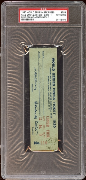 1920 World Series Brooklyn Robins Ebbets Field Press Ticket Stub PSA AUTHENTIC