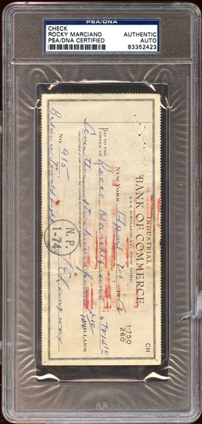 Rocco Marchegiano (Rocky Marciano) Endorsed Bank Check Payment for Savold Fight PSA/DNA AUTHENTIC