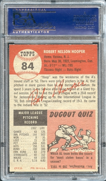 1953 Topps #84 Bob Hooper PSA 8.5 NM-MT+