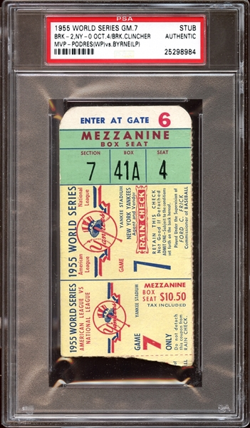 1955 World Series Game 7 Ticket Stub PSA AUTHENTIC