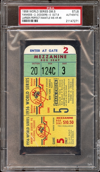 1956 World Series Game 5 Ticket Stub Don Larsen Perfect Game PSA AUTHENTIC