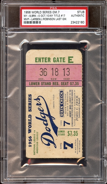 1956 World Series Game 7 Ticket Stub Jackie Robinson Last Game PSA AUTHENTIC