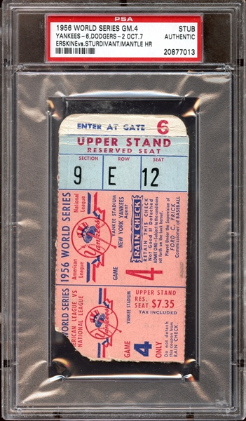 1956 World Series Game 4 Ticket Stub Mickey Mantle Home Run PSA AUTHENTIC