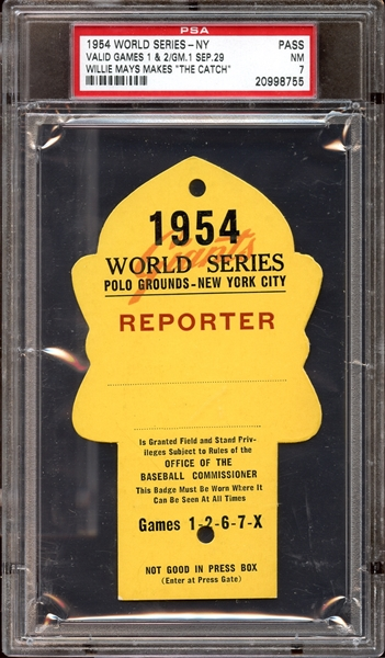 1954 World Series Polo Grounds Press Pass PSA 7 NM