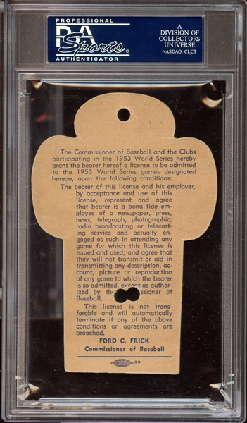 1953 World Series Yankee Stadium Press Pass PSA AUTHENTIC