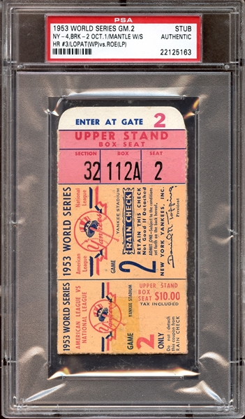 1953 World Series Game 2 Ticket Stub Mickey Mantle Home Run PSA AUTHENTIC