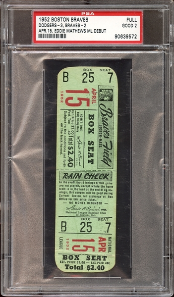 1952 Boston Braves Ticket Stub Eddie Mathews 1st Game PSA 2 GOOD