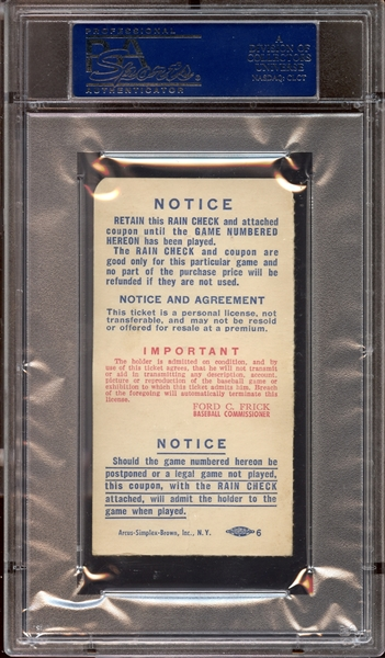 1952 World Series Game 1 Ticket Stub Jackie Robinson and Duke Snider Home Runs PSA AUTHENTIC