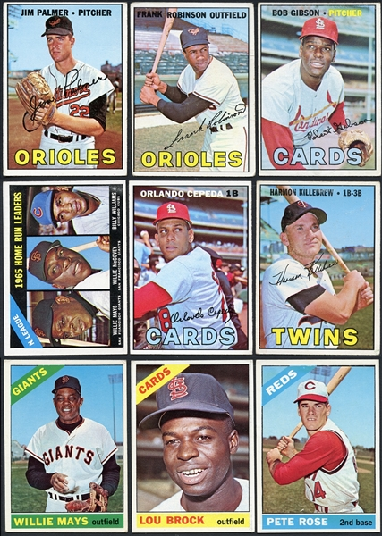 1966-1967 Topps Baseball Partial Group of Nearly 550 Different With Stars & Hall of Famers Plus 200+ Duplicates