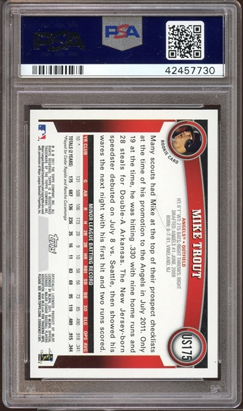 2011 Topps Update #US175 Mike Trout PSA 10 GEM MINT AUTO 10