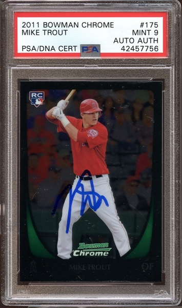 2011 Bowman Chrome #175 Mike Trout PSA 9 MINT AUTO PSA/DNA AUTH