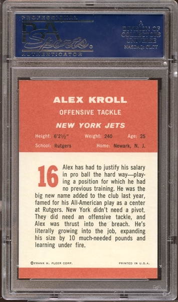 1963 Fleer #16 Alex Kroll PSA 10 GEM MINT