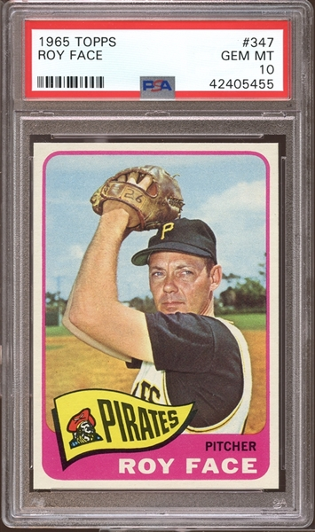 1965 Topps #347 Roy Face PSA 10 GEM MINT
