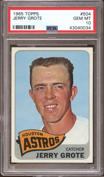 1965 Topps #504 Jerry Grote PSA 10 GEM MINT