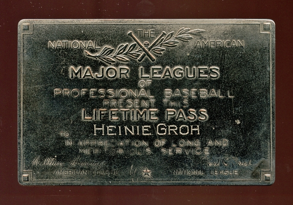 National and American Major Leagues of Professional Baseball Lifetime Pass Presented to Heinie Groh
