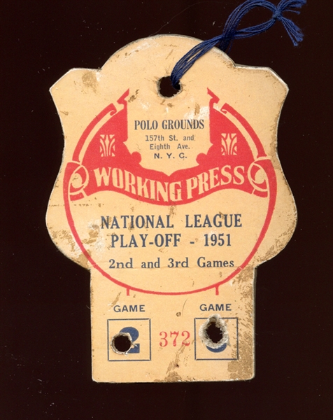 1951 National League Playoff Press Pass Games 2 and 3 Cancelled The Shot Heard 'Round the World