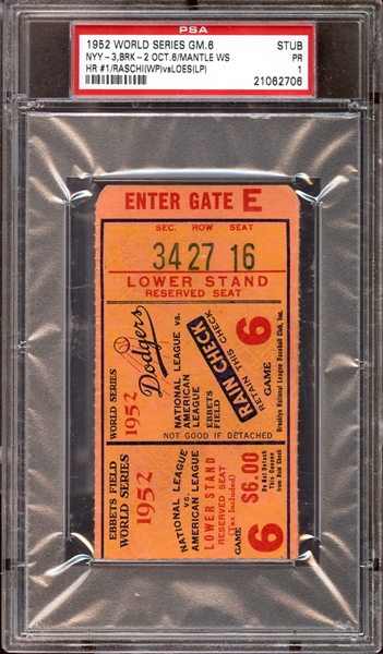 1952 World Series Game 6 Ticket Stub Mickey Mantle 1st World Series Home Run PSA 1 PR