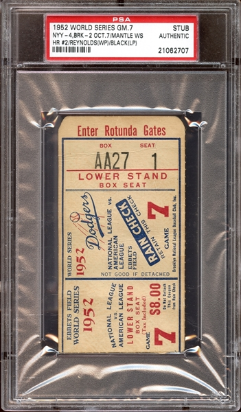 1952 World Series Game 7 Ticket Stub Mickey Mantle Home Run PSA AUTHENTIC