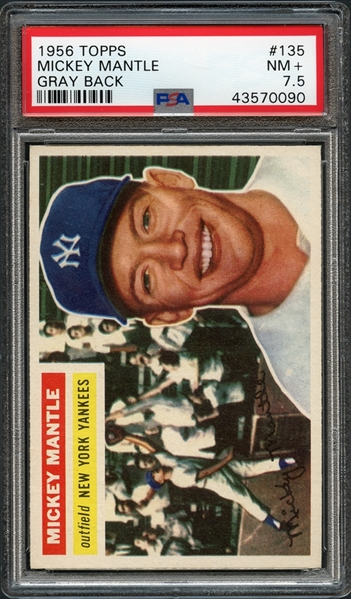 1956 Topps #135 Mickey Mantle Gray Back PSA 7.5 NM+