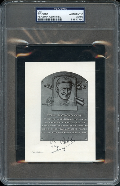Ty Cobb Autographed Cut PSA/DNA Certified Authentic