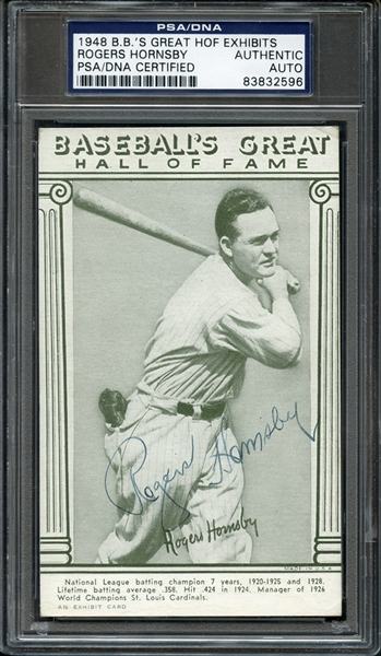 1948 Rogers Hornsby Autographed B.B.'s Great HOF Exhibits PSA/DNA Certified Authentic