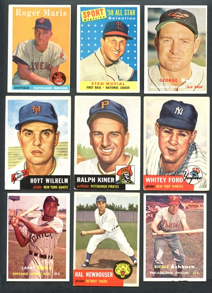 1953-1957-1958 Topps Baseball Large Group of Over (450) Different Plus More Than (160) Extras