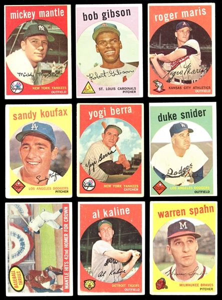 1959 Topps Baseball Partial Set (427/572) with Mantle and Gibson RC Plus Extras