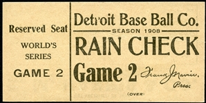 Exceptionally Rare 1908 World Series (Detroit) Full Ticket