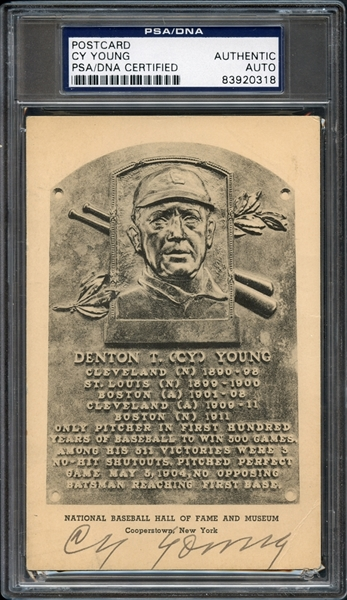 Cy Young Autographed Postcard PSA/DNA Certified Authentic