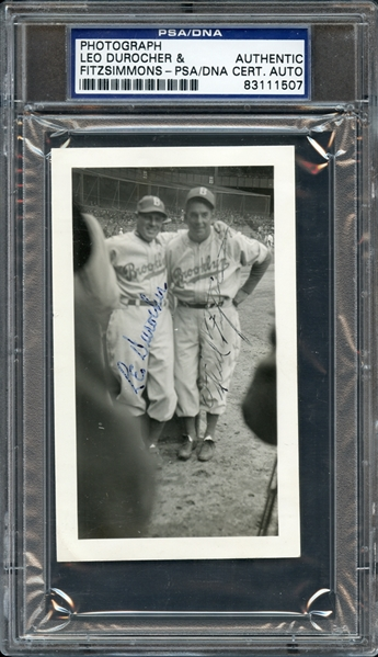 Leo Durocher & Fred Fitzsimmons Autographed Photograph PSA/DNA Certified Authentic