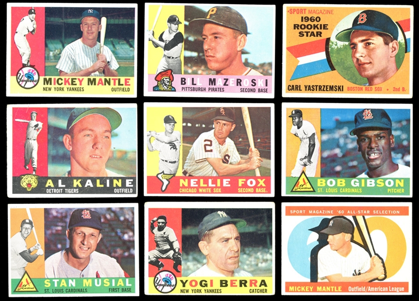 1960 Topps Baseball Partial Set (287/572) with Mantle and Yastrzemski RC Plus Extras