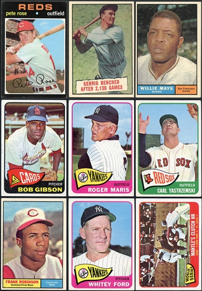 1953-1971 Baseball Star Card Lot of (40) Loaded with HOFers Including Mantle & Paige