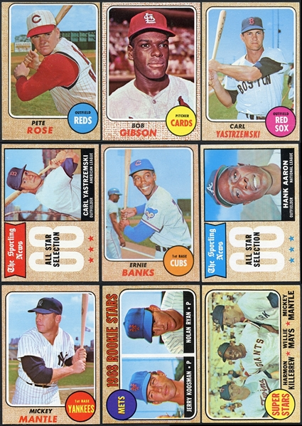 1968 Topps Baseball Near Complete Set (555/598) Plus Baseball Game Insert Set