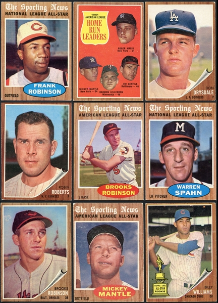 1962 Topps Baseball Partial Set with Mantle (444/598) Plus Extras