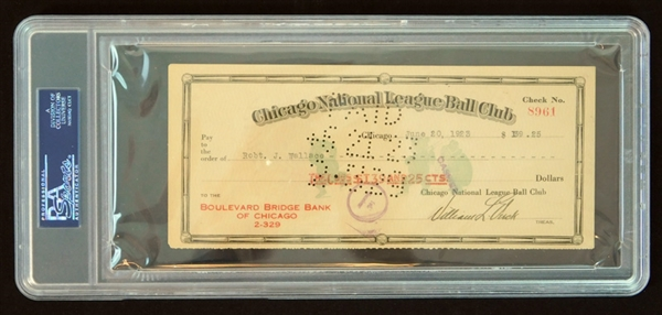 1923 Bobby Wallace Signed and Cancelled Bank Check from Chicago Cubs PSA/DNA NM 7