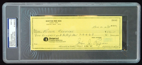 Roger Clemens Signed and Cancelled Bank Check From Boston Red Sox PSA/DNA MINT 9