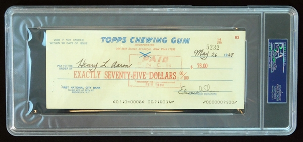 Hank Aaron Signed and Cancelled Bank Check from Topps Chewing Gum PSA/DNA