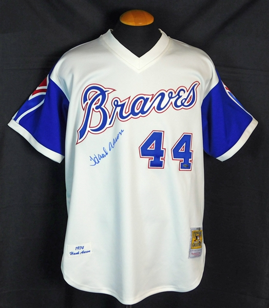 Hank Aaron Signed 1974 Atlanta Braves Mitchell and Ness Jersey with Steiner COA