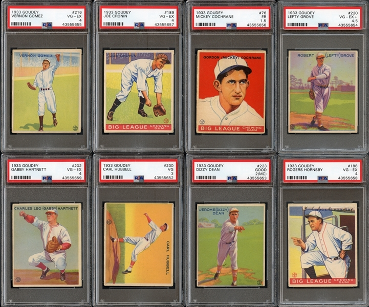 1933 Goudey Group of 67 Cards with HOFers and PSA Graded