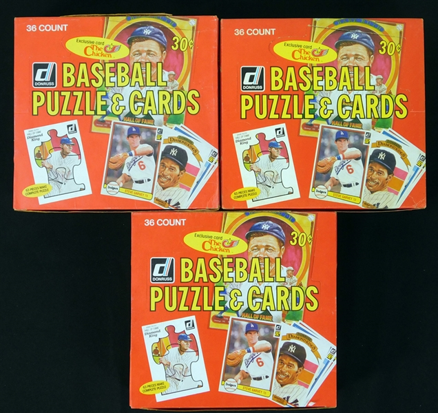 1982 Donruss Baseball Unopened Wax Box Group of (3)