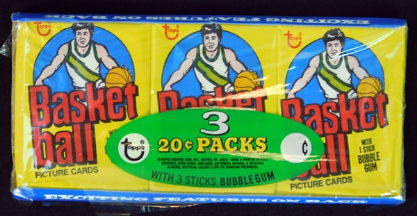 1978 Topps Basketball Unopened Wax Pack Tray