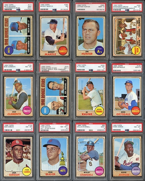 1968 Topps Complete Set Exceptionally High Grade with PSA Graded Cards