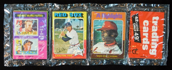 1975 Topps Baseball Unopened Rack Pack with Fisk and Brock HL on Top