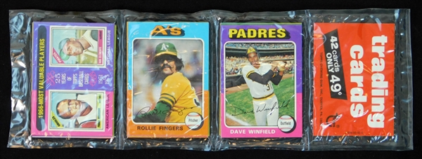 1975 Topps Baseball Unopened Rack Pack with Winfield and Fingers on Top