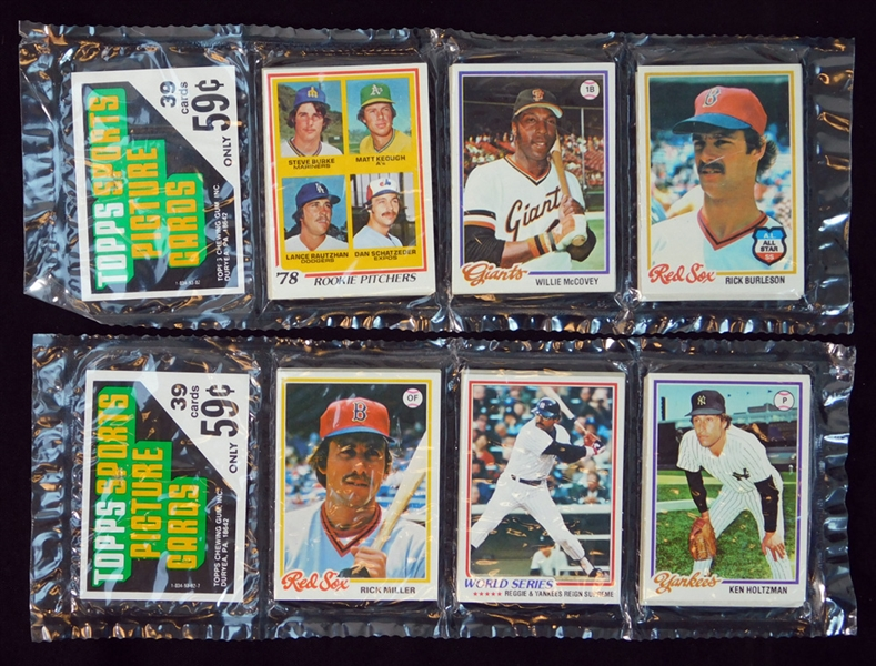 1978 Topps Baseball Unopened Rack Pack Group of (2) with McCovey and Jackson WS on Top